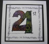 21st Birthday Clear Woodware Stamp